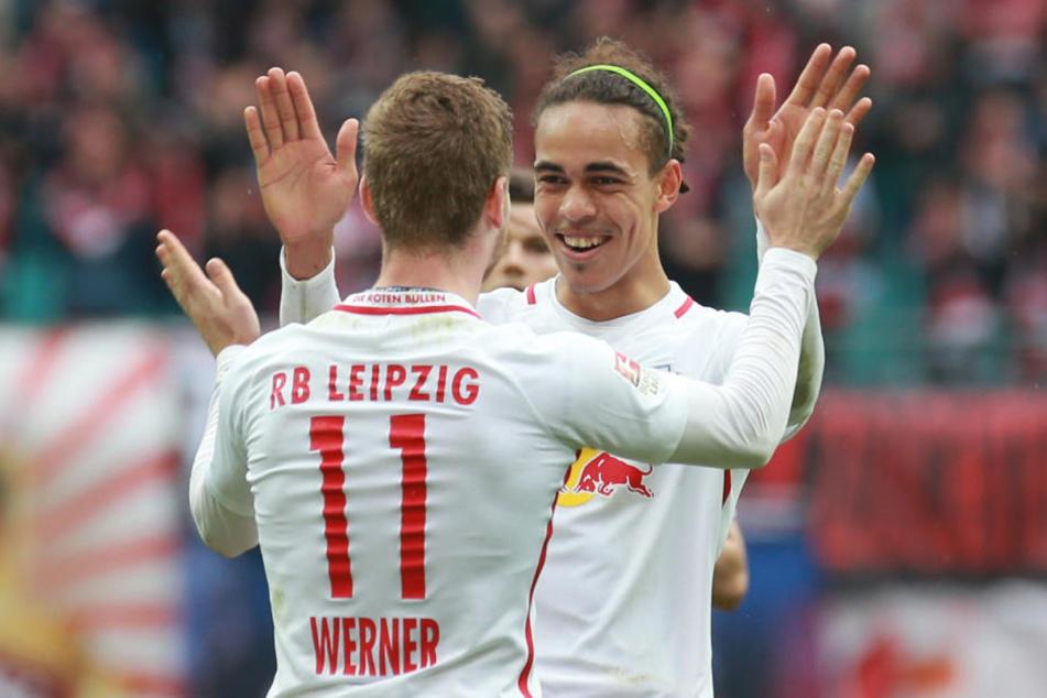 Leipziger Dreamteam: Timo Werner und Yussuf Poulsen sorgten gemeinsam für den Sieg gegen Mitaufsteiger Freiburg.