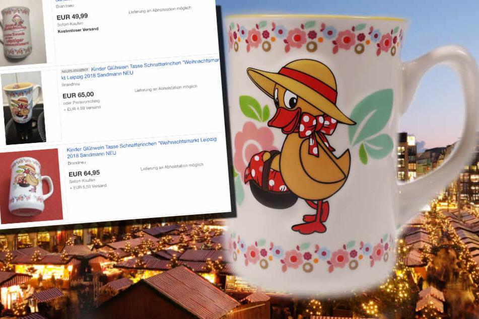 65 Euro kann man auf Ebay für das Schnatterinchen-Tässchen des Leipziger Weihnachtsmarktes zahlen - plus Versandkosten.