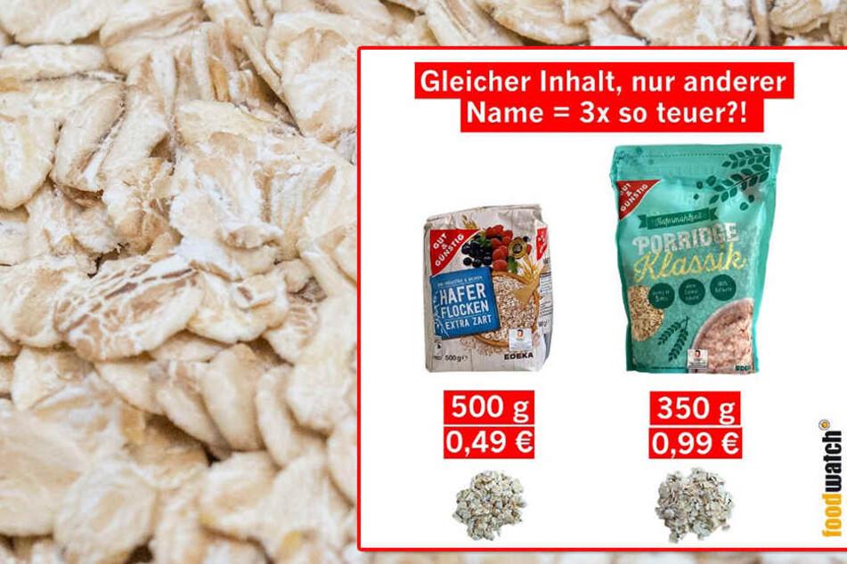 Haferflocken werden bei EDEKA als Porridge verkauft, und zwar sehr viel teurer!