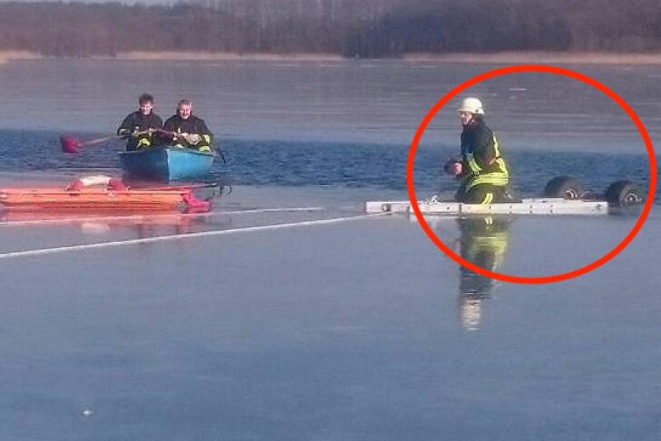 Quad-Fahrer brettert auf zugefrorenen See und bricht ein!