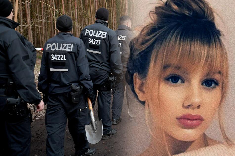 Berliner Polizisten brechen bei Einbruch der Dunkelheit die Suche in einem Waldstück nach der vermissten Rebecca aus Berlin ab.