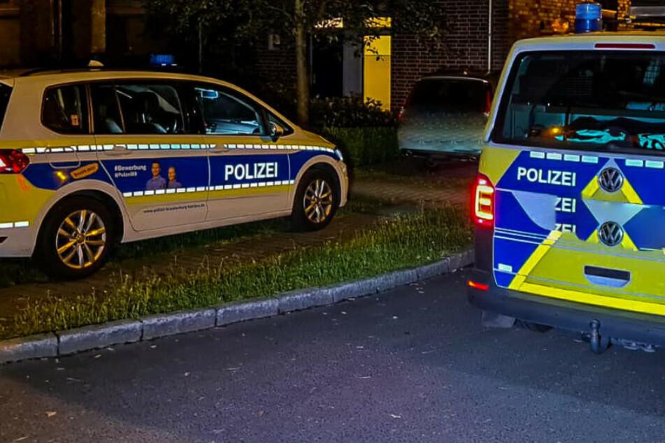 Polizeiwagen stehen an einer Straße.