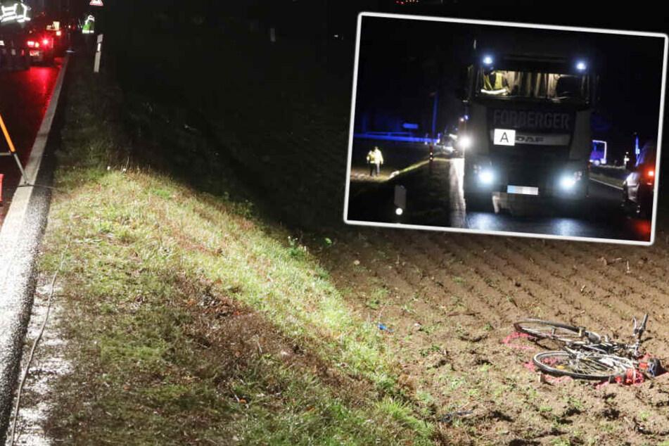 Unfall bei Radeburg: LKW erfasst in der Dunkelheit einen Radfahrer!
