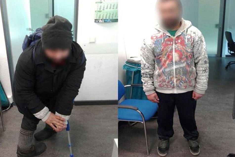 Mit einer angefertigten Schiene täuschte er eine Behinderung vor (l.). Ohne die Utensilien kann der Mann allerdings normal laufen.
