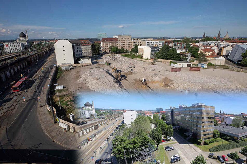 """DDR-Schick: Der achtstöckige Bürokomplex (unten im Bild) """"zierte"""" über Jahrzehnte das Areal gegenüber vom Bahnhof Mitte. Nach dem Abriss ist die Fläche jetzt frei für Neues."""