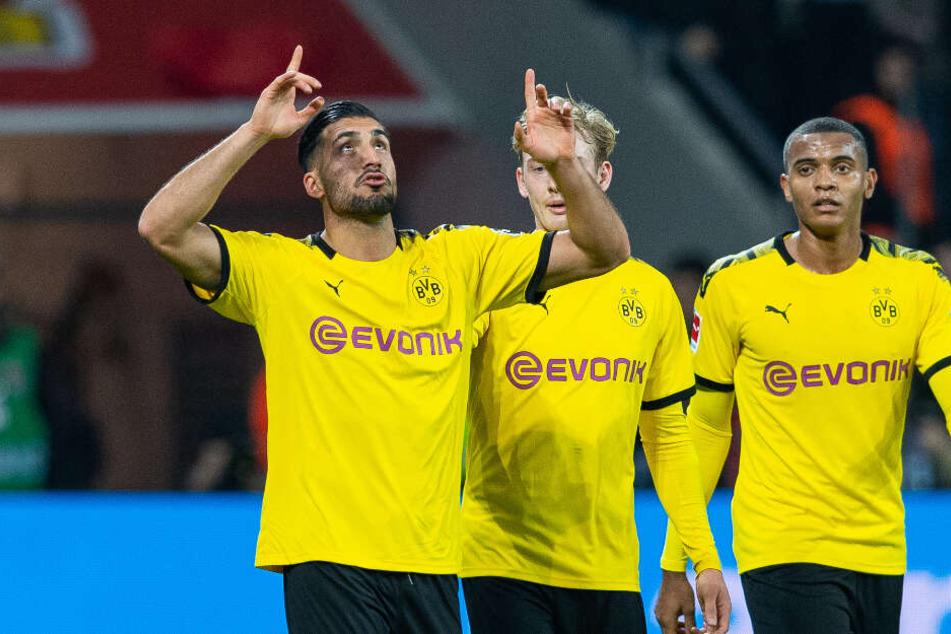 Emre Can jubelt über einen Treffer. Neben ihm die Team-Kollegen Julian Brandt und Manuel Akanji.