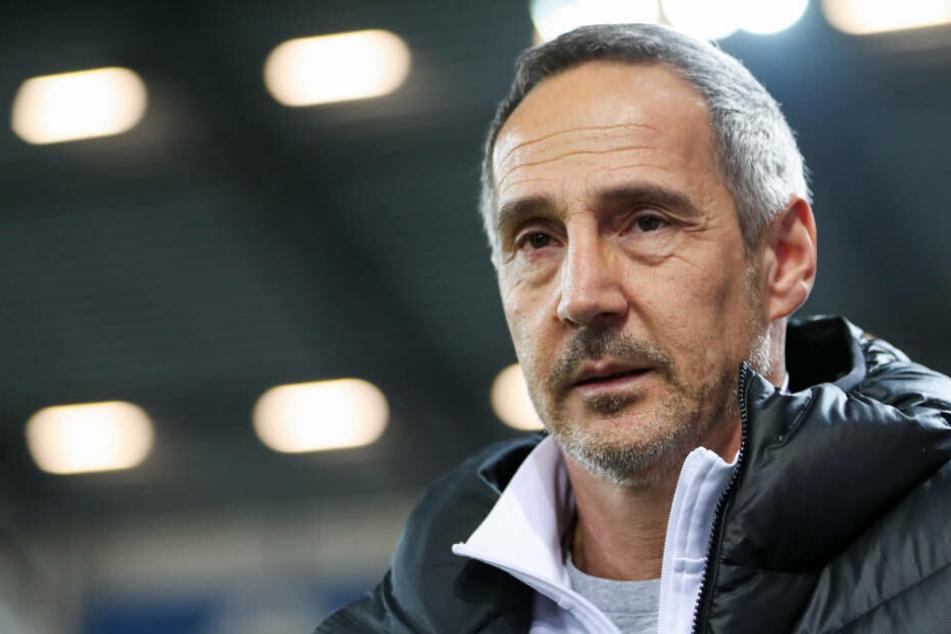 """""""Eine bittere Niederlage, die mich sehr, sehr stört"""", sagte Eintracht-Trainer Hütter nach der 1:2-Heimniederlage gegen Union Berlin (Archivbild)."""