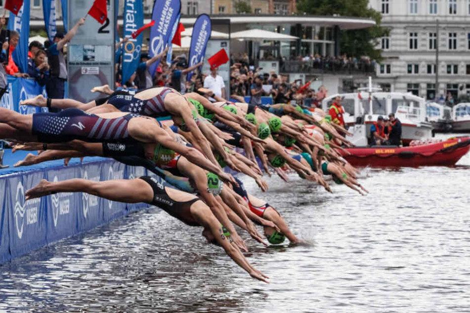 Verkehr beeinträchtigt: Triathlon-Elite misst sich in Hamburg