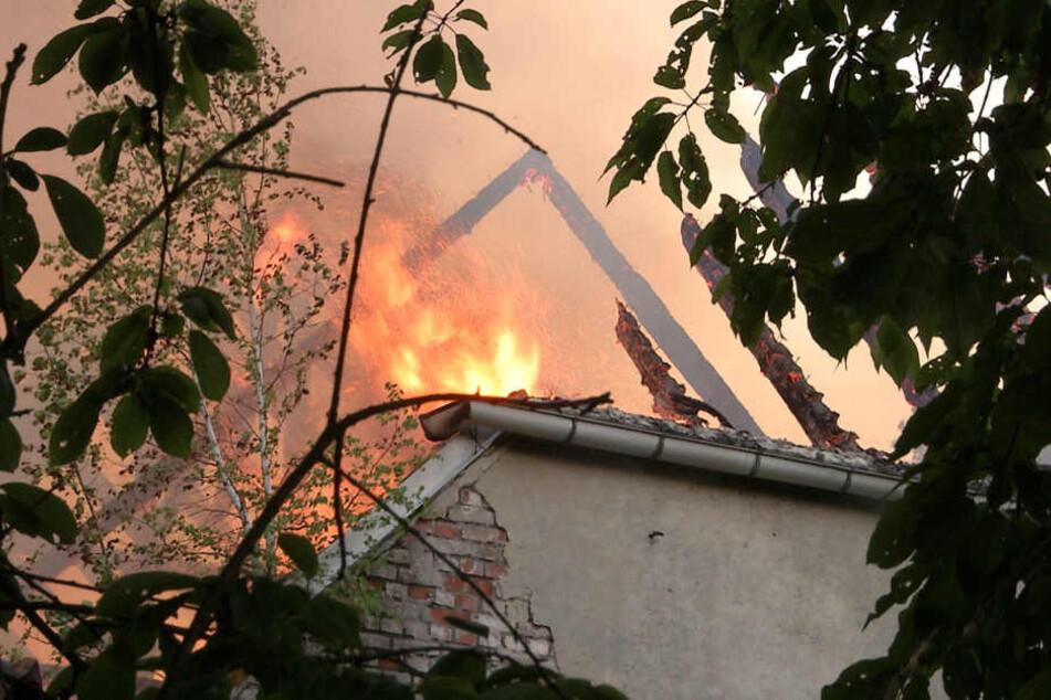 In Oelsa brannte das ehemalige Freigut ab.