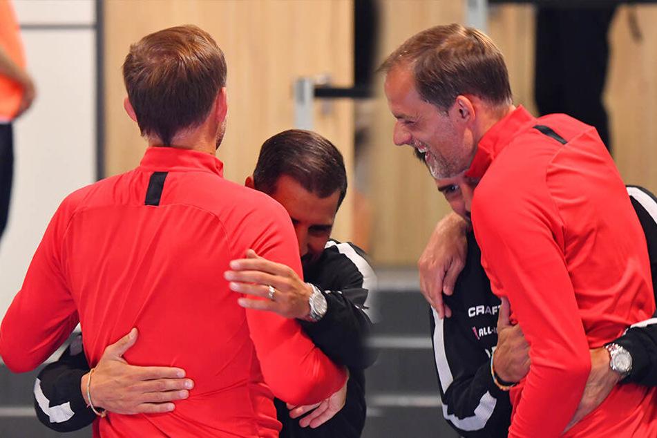 Cristian Fiel und Thomas Tuchel hatten vor der Partie ihren Spaß.