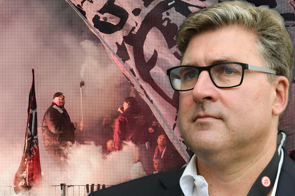 Die Fotomontage zeigt Eintracht-Frankfurt-Vorstandsmitglied Axel Hellmann (48).