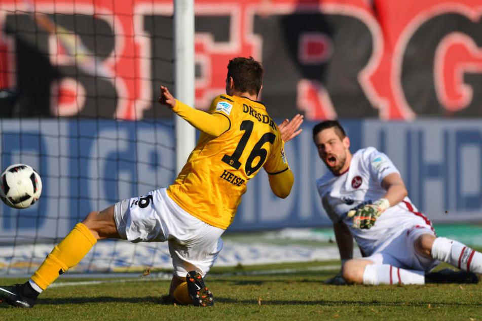 Hier trifft Heise in seinem ersten Spiel für Dynamo zum 1:0.