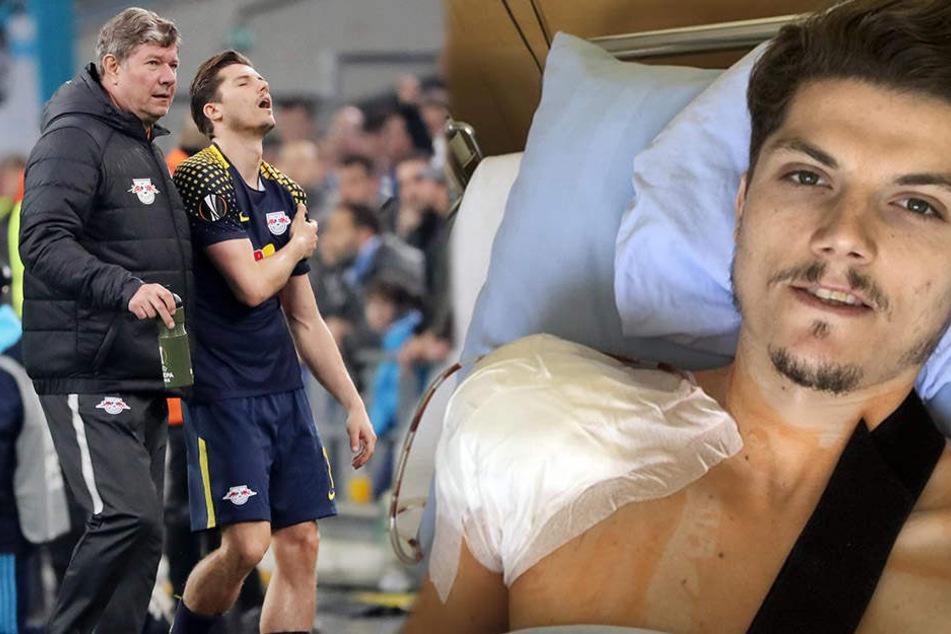 Marcel Sabitzer hatte sich vor fast einer Woche seine linke Schulter ausgekugelt. Mit einem Selfie aus dem Krankenhaus meldete er sich jetzt bei den Fans.