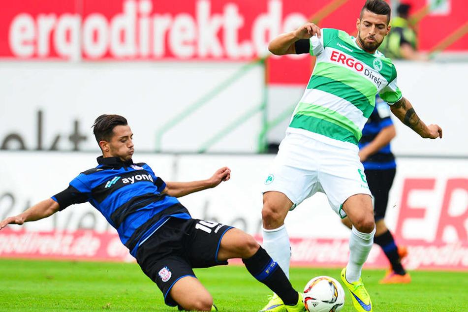Routinier Jürgen Gjasula (r.) wird den 1. FC Magdeburg zur kommenden Saison verstärken. (Archivbild)