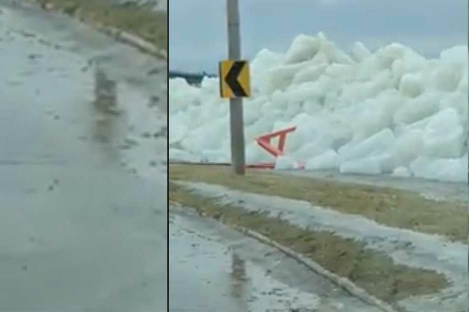 Hier schiebt sich ein Eisberg auf die Straße