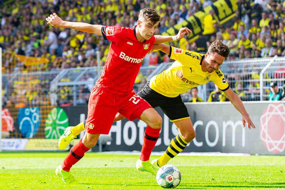 Leverkusens Top-Talent Kai Havertz (l.) kam in der ersten Halbzeit nicht zur Geltung.