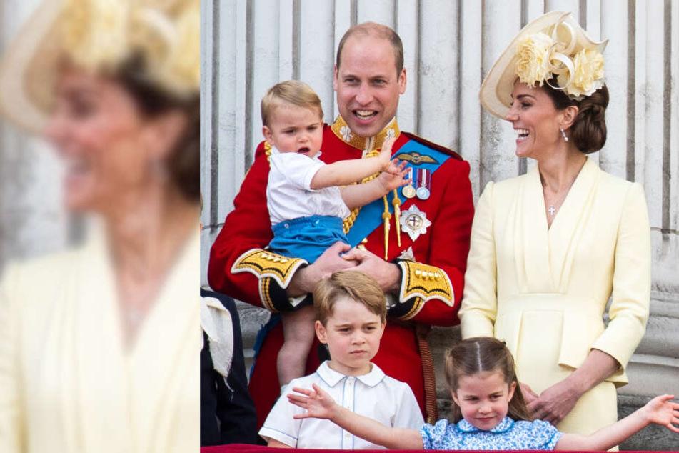 Prinz Louis (1) auf dem Arm von Papa William (37), Prinz George (6), Prinzessin Charlotte (4) und Herzogin Kate (37).