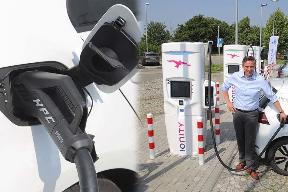 E-Mobilität: Erste Schnell-Ladestelle an Sachsens Autobahn