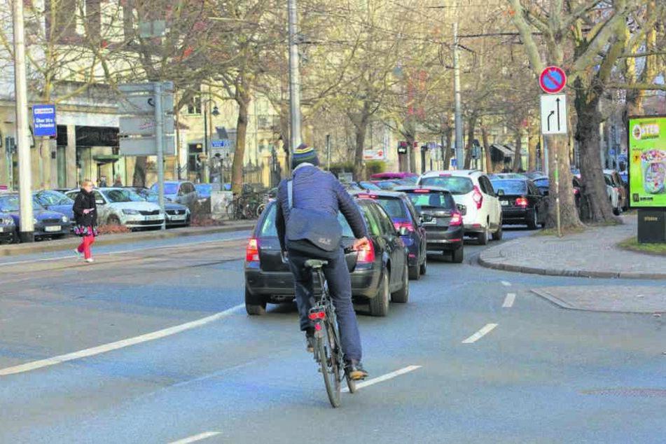 Die Bautzner Straße wird im Sommer fahrradfreundlicher: Hier soll unter anderem ein neuer Radweg entstehen.
