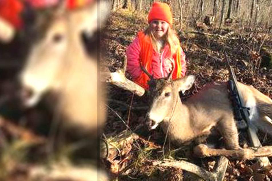 Mädchen (6) erlegt ihren ersten Hirsch und posiert stolz davor