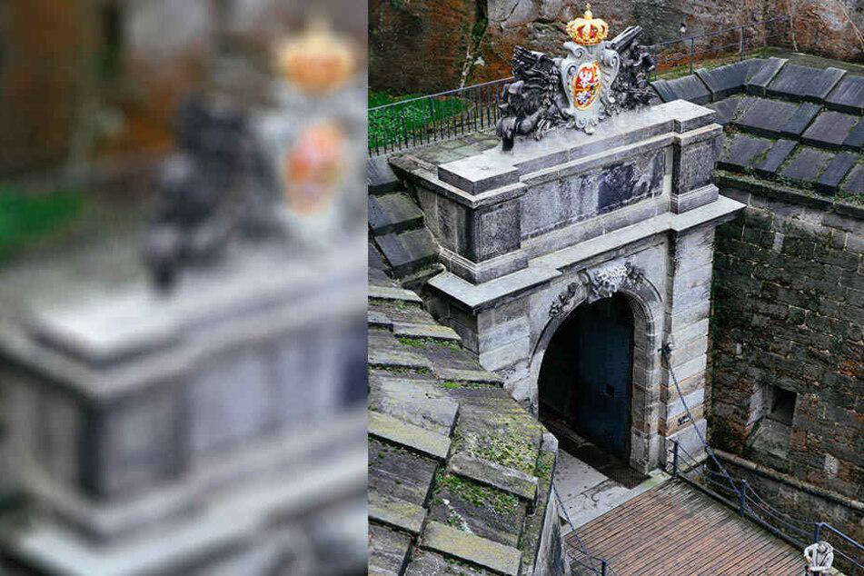 Das Medusentor der Festung Königstein erstrahlt im frisch sanierten Antlitz.