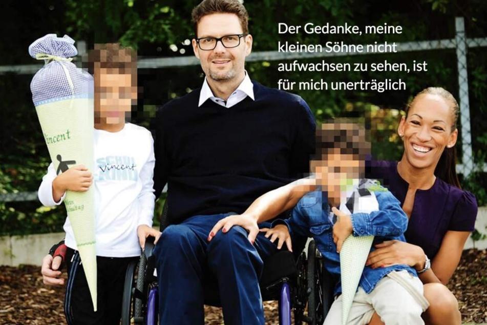 Astrids Ehemann Florian (Mi.) sitzt seit einem Unfall im Rollstuhl. Ihre beiden Söhne (9 und 11) will sie um jeden Preis aufwachsen sehen.