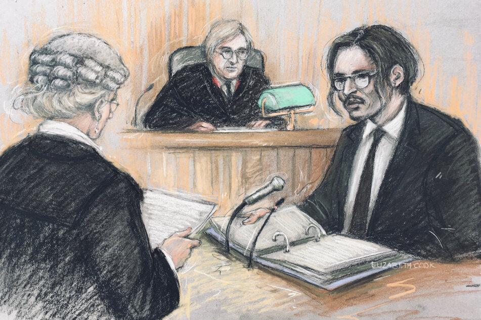 Diese Gerichtsskizze zeigt Johnny Depp bei der Anhörung.