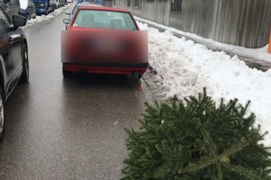Der Fahrer hatte den Christbaum an sein Auto gebunden.