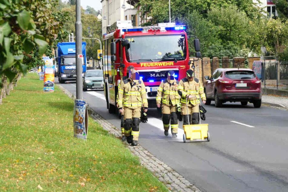 Nach dem Einsatz im Baumarkt ging es zurück ins Stadtgebiet, dort war Öl auf den Straßen ausgelaufen.