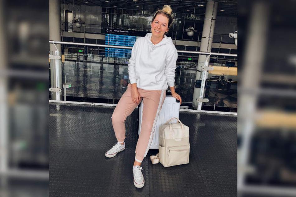 Ann-Christin Weber vor dem Abflug in die Türkei.