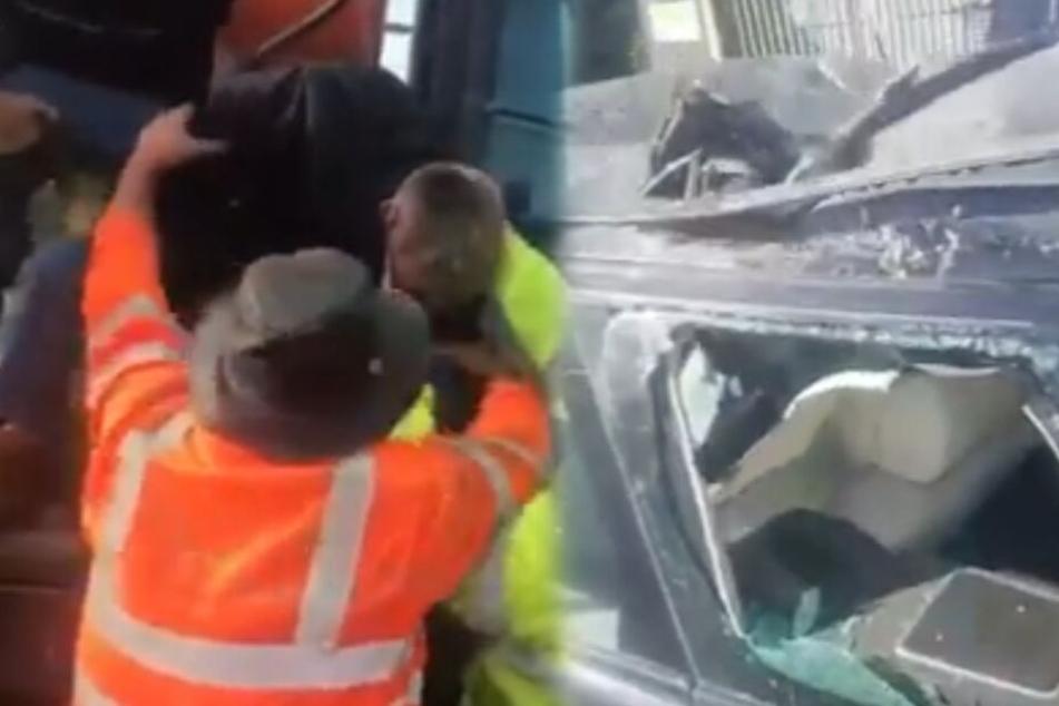Racheakt? Betrunkener Baggerfahrer zerstört Range Rover vom Chef