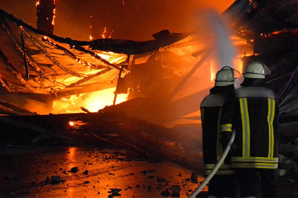 Der Brand einer Lagerhalle in Torgau hat mehrere Traktoren und Maschinen vernichtet. (Symbolbild)