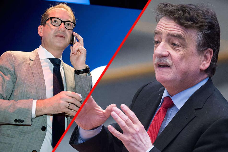 Michael Groschek (59, re.) lobt den Kampf des Bundesverkehrsministers Alexander Dobrindt (46) für die Pkw-Maut.