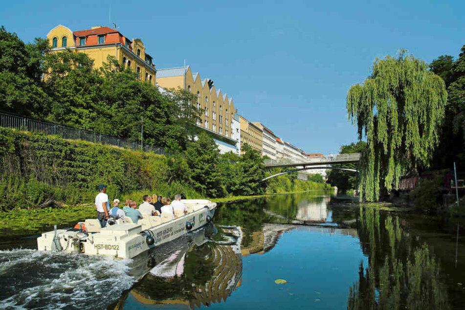 Der Karl-Heine-Kanal in Leipzig. Er wird zwischen Nonnenbrücke und Lindenauer Hafen entkrautet.