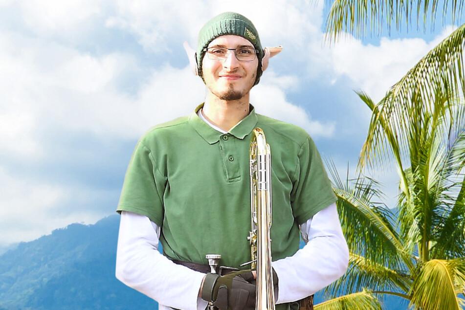 Elfenfan Elias (24) aus der Nähe von Dresden spielt gern Trompete. Noch Fragen?