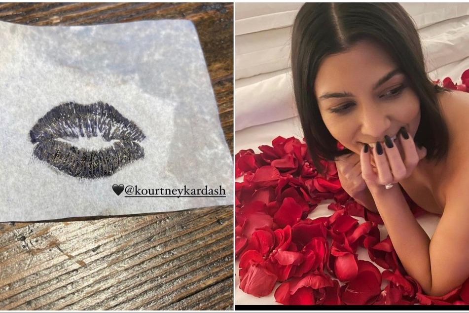 Topless and tattoos! Kourtney Kardashian and Travis Barker celebrate their engagement
