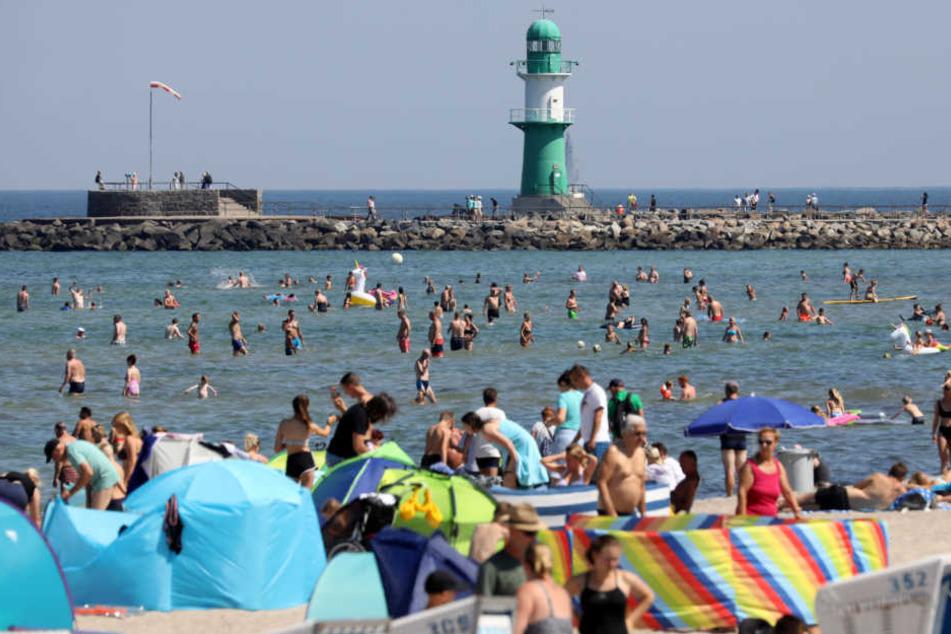 Der Strand von Rostock-Warnemünde lockt in diesen Tagen besonders viele Badegäste an.