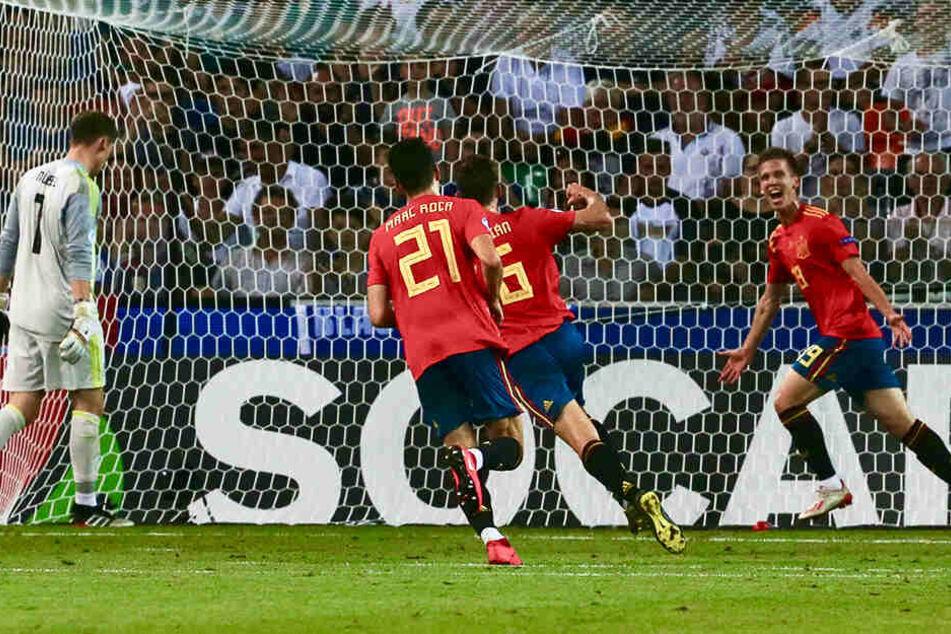 Dani Olmo (r.) erzielte im U21-EM-Finale vor wenigen Wochen das vorentscheidende 2:0 für Spanien gegen Deutschland.