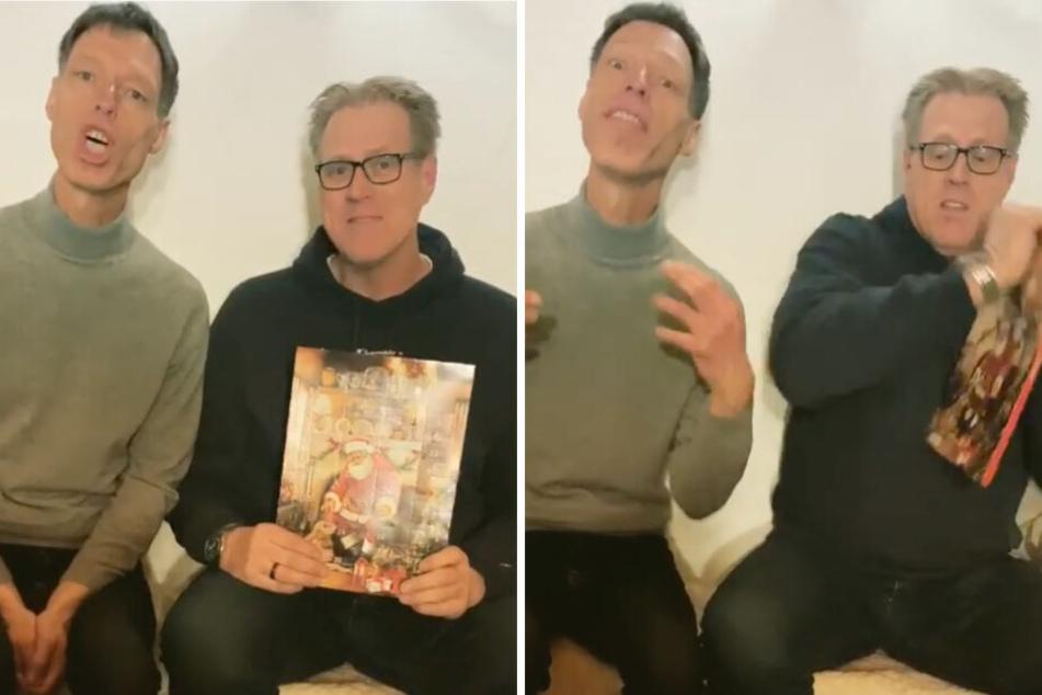 Martin Schneider (l.) sagt ein Gedicht auf, während Norbert Heisterkamp (r.) versucht, die Türchen seines Adventskalenders zu öffnen.