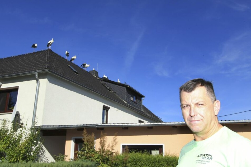 Tierisches Erinnerungs-Foto: Jörg Gruber (51) und seine gefiederten Gäste auf dem Dach.
