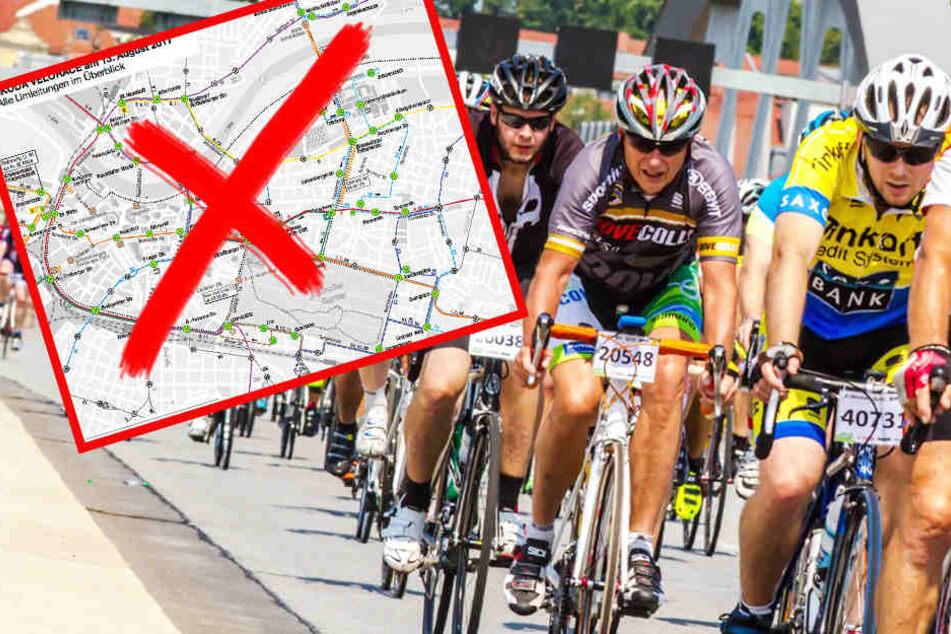 Hier geht nichts mehr! Radrennen legt Dresdens Innenstadt lahm