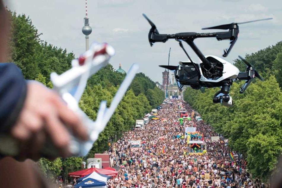 Ein Einsatz von Drohnen bei Großveranstaltungen ist ein Szenario, was für Behörden denkbar ist (Symbofoto/Montage).