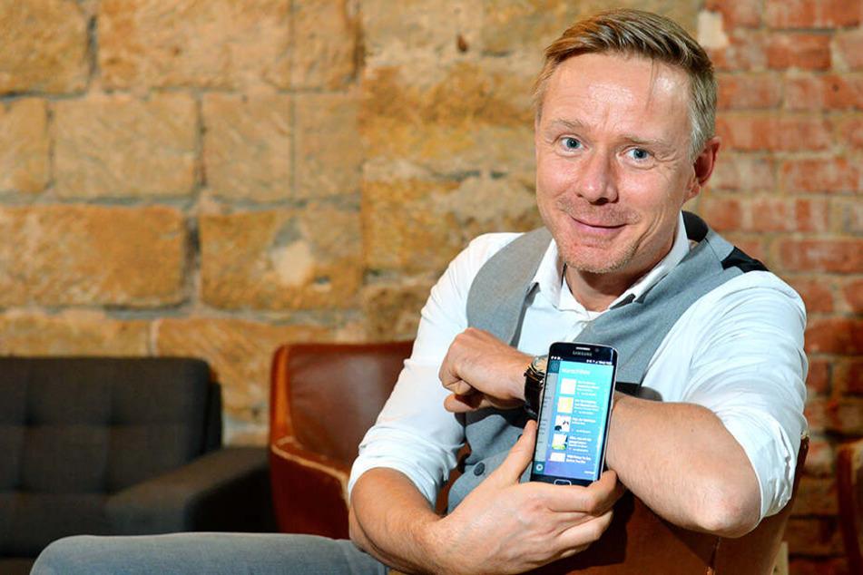 """Der Dresdner Michael Damm (40) sagt mit der Bücher-App """"lesio"""" auch dem Online-Riesen Amazon den Kampf an."""