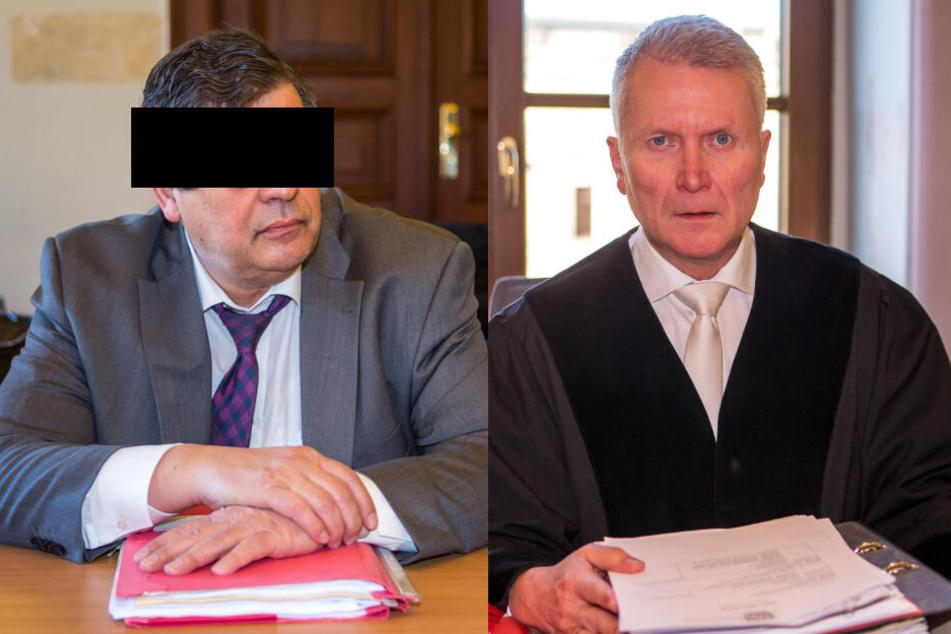 Der Angeklagte CDU-Mann Albert P. (l.) und der Vorsitzende Richter Rüdiger Harr (r.).