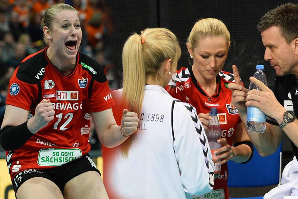 Cross (li.) und ist auf dem Feld eine echte Stimmungskanone. Laura Dijkema (Mitte) und Maeike Hindriksen (2.v.re.) im Gespräch mit ihrem Ex-Trainer Alex Waibl.