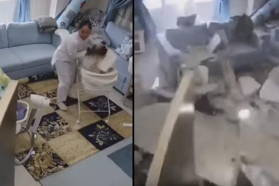 Rettung in letzter Sekunde: Putzfrau nimmt Baby aus dem Bett, kurz darauf stürzt die Decke ein