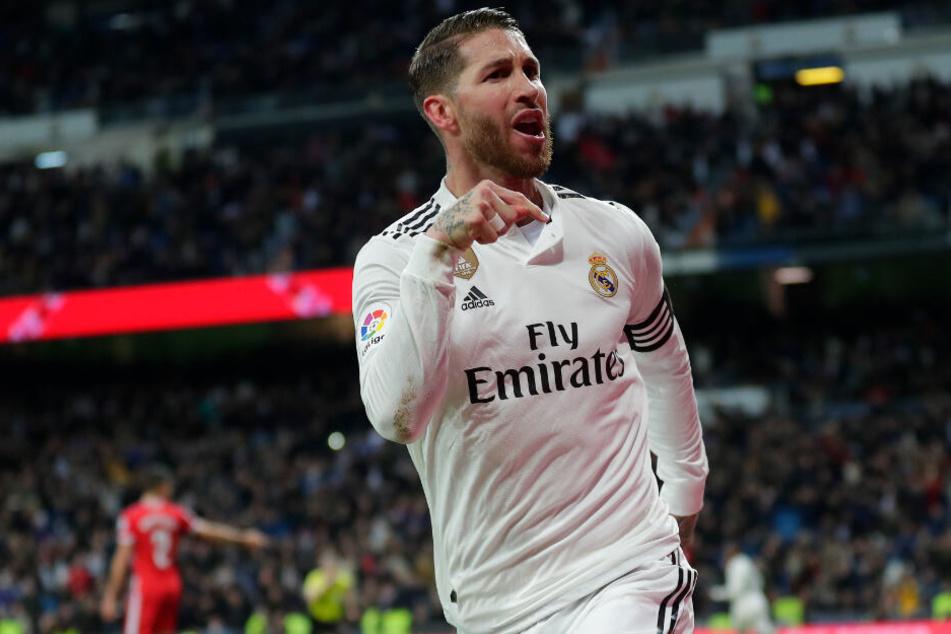 Real Madrids Sergio Ramos zeigt nach einem Tor, wer Herr im Hause ist.