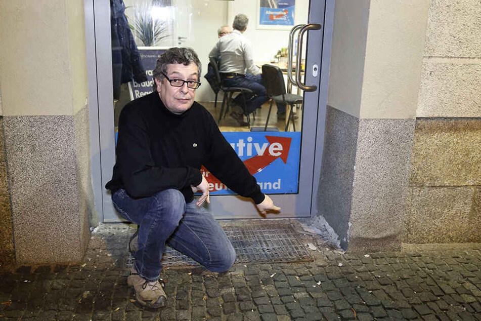 Das Büro des AfD-Landtagsabgeordneten Carsten Hütter (52) in Chemnitz wird immer wieder angegriffen.