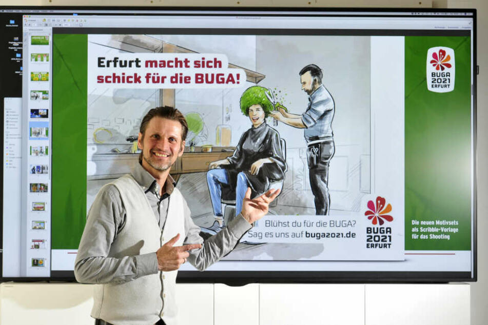 Mit witzigen Motiven macht Werbe-Chef Jörg Fieback (48) Appetit auf die Bundesgartenschau in Thüringen.