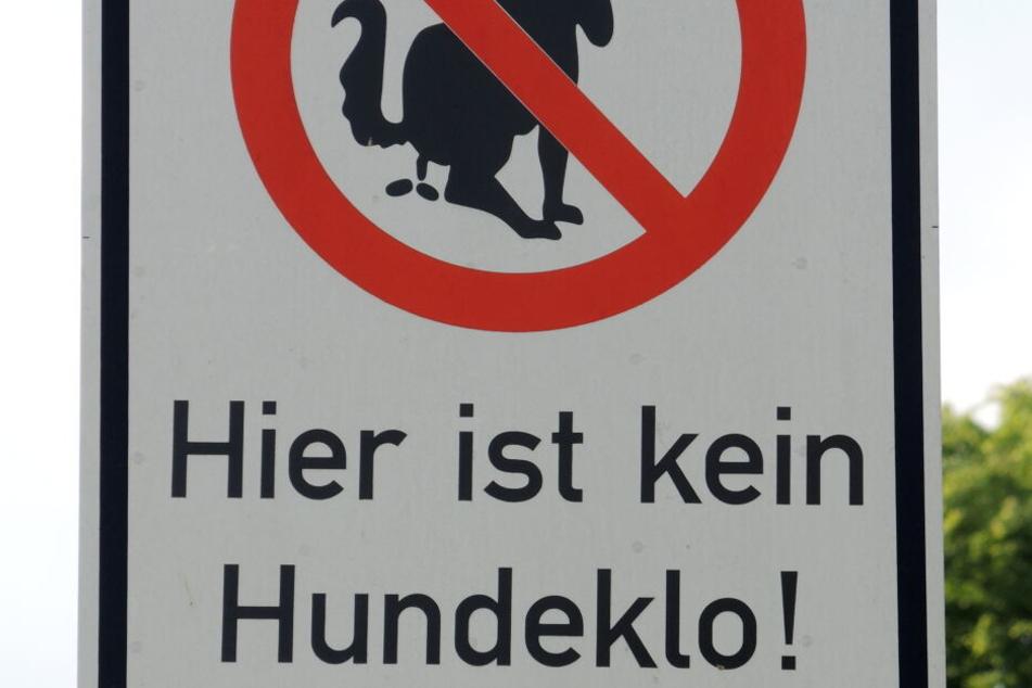 Ein Schild weist daraufhin, die Grünfläche nicht als Hundeklo zu missbrauchen, trotzdem wird das im Park immer wieder gemacht. (Symbolbild)